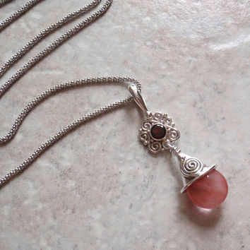 Garnet Drop Necklace Sterling Silver Lavalier Strawberry Colored Drop Vintage AT0126