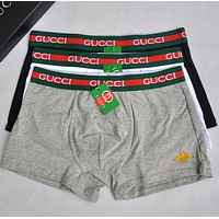 GUCCI New fashion men letter stripe bee embroidery underwear four-corner briefs