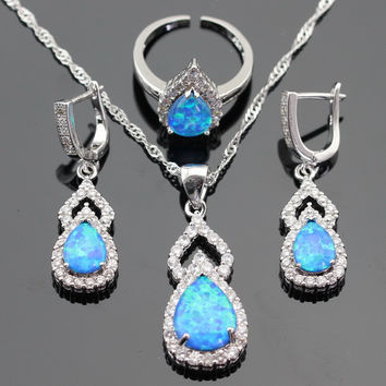 Australia Blue Opal White Stones Silver Color Jewelry Sets For Women Necklace Pendant Drop Earrings Open Rings Gift Box
