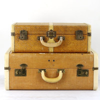 Vintage Suitcase Stack Of Two,Vintage Suitcases, Old Suitcases, Two Suitcases Stacked, Suitcases Luggage, Suitcase Decor