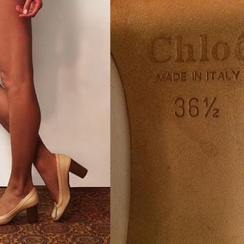Vintage 1960's Mod Chloé Loafer Leather Pumps In Bone White || Size 6.5 Chloe Shoes Ivory Beige Size 6 Wood Heels