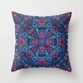 Cherry Red & Navy Blue Watercolor Floral Pattern Throw Pillow by Micklyn