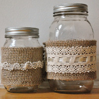 Burlap and Lace Mason Jar Set of 6 Wedding Centerpiece Bridal Shower Country Home Decor