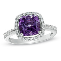 8.0mm Cushion-Cut Amethyst and Lab-Created White Sapphire Frame Ring in Sterling Silver - Size 7 - Rings - Zales