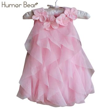 Humor Bear Girls Birthday Party Dresses +Hair band Baby Girls Summer Dress Jumpsuits Toddler Infant Romper Dress Baby Clothes
