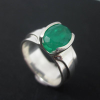Emerald Ring, Men's Emerald Ring, Emerald Crystal Ring, Men's Silver Gemstone Ring