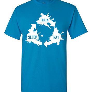Train. Sleep. Eat. Tshirt. gym tshirt. running clothes. athlete clothes. workout clothes. motivation clothing. crossfit clothes. TH-103