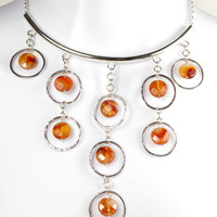 Hallmarked 925 Sterling Silver Carnelian Circles Necklace