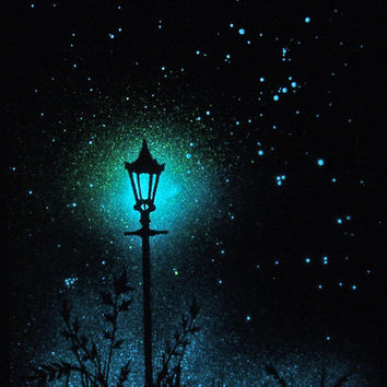 Glow in the Dark Art   Star Poster  The Lamp Post by StellaMurals