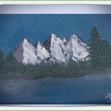 A Cloudless Day a Bob Ross inspired Oil Painting Landscape with MOUNTAINS and TREES