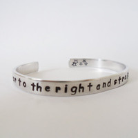 Second star to the right and straight on til morning Bracelet - Hand Stamped Aluminum Cuff - Disneys Peter Pan Inspired  Customizable