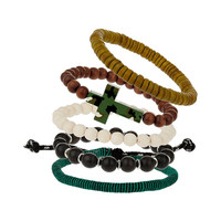 Cross and Bead Bracelet Pack - TOPMAN USA