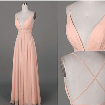 Open Back V-Neck A-Line Chiffon Prom Dresses Evening Dresses