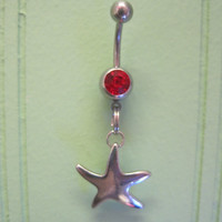 Belly Button Ring - Body Jewelry -Silver Starfish With Red Gem Stone Belly Button Ring