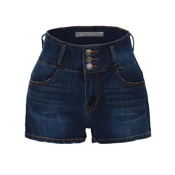 Stretchy High Rise Washed Button Down Denim Shorts with Pockets (CLEARANCE)