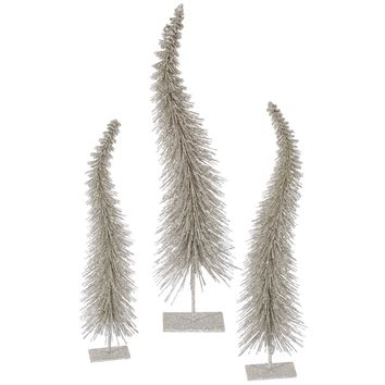 """7"""" Silver Tinsel Snowflake Starburst Christmas Tree Topper - Clear Lights"""