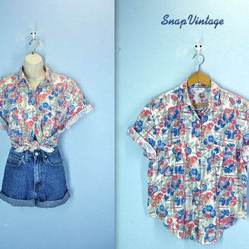 Slouchy Blouse / 80s Watercolor Camp Shirt / Oversized Top