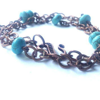 Bohemian Double Wrap Bracelet - Boho Turquoise and Copper Bracelet