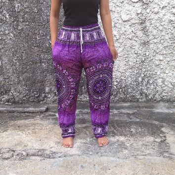 Yoga Exercise Pants Art Boho hobo Style Aztec Print Hippies Gypsy Rayon Aladdin Clothing Beach Summer Harem Chic Baggy Unisex Purple