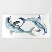 Two Dolphins Beach Towel by SurenArt