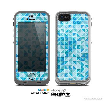 The Abstarct Blue Triangular Cubes  Skin for the Apple iPhone 5c LifeProof Case