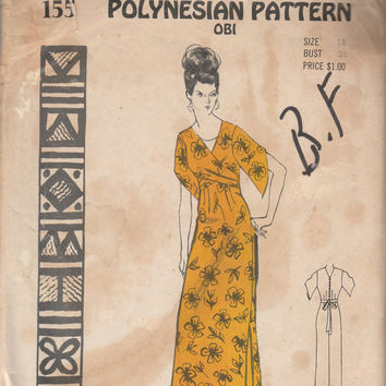 Polynesian Pattern 155 Obi Maxi Dress Hawaiian Muumuu Sewing Pattern Size 18 Bust 38 Uncut Vintage Rare Hawaii Asian Style DIY Fashion