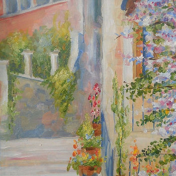 Still Life Oil Painting Italy Town Landscape Bystreet White Cat Stair Custom Impasto Contemporary Art Photo to Painting Flowers Realism Art