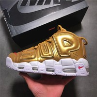 Nike Air More Uptempo x Supreme Gold Basketball Shoe 36--45