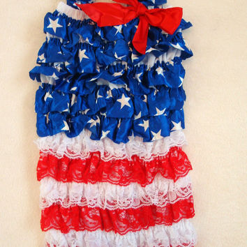Red White & Blue 4th Of July Lace Petti Romper-Flag-Stars and Stripes-Baby Girl-Newborn-Infant-Child-Baby Clothes-Outfit-Fourth Of July-Chic