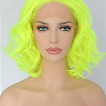 Short Bright Yellow Wave Bob Synthetic Lace Front Wig