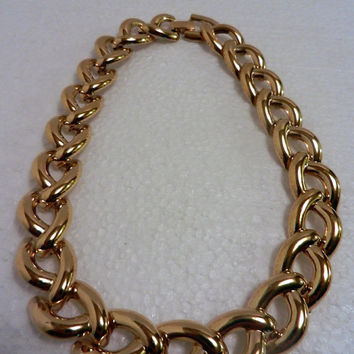 Monet gold tone choker necklace chain  -- wide heavy link -- free shipping