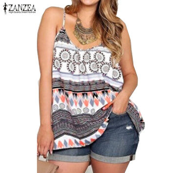 Plus Size 2016 Summer ZANZEA Women Sexy Floral Print Blouses Tops Casual O Neck Loose Oversized Strapless Blusas Shirts Top