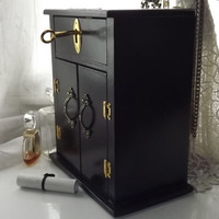 LOCKABLE top Drawer- HANDMADE Charcoal, Black and Gold Shabby Armoire with a lockable top Drawer. Brass plaque Personalisation available