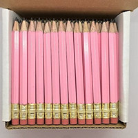 Half Pencils with Eraser - Golf, Classroom, Pew, Short, Mini - Hexagon, Sharpened, Non Toxic, #2 Pencil, Color - Pastel Pink, (Box of 48) Golf Pocket Pencils TM