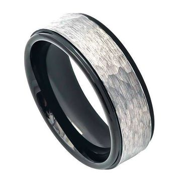Mens Carbide Tungsten Wedding Ring Two-Tone Hammered Gun Metal Brush Finish & Black IP Inner Ring Stepped Edge - 8mm