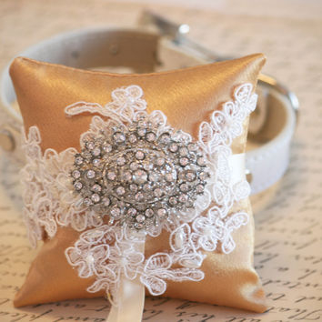 Gold Victorian Ring Pillow,  Dog Ring Bearer Pillow
