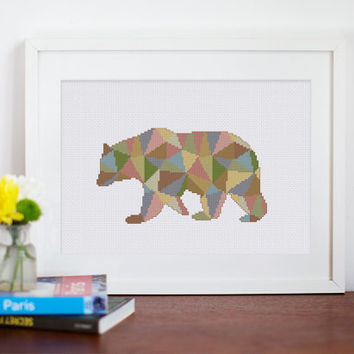 Geometric Polygon Bear cross stitch pattern| Abstract baby animal modern counted chart| Easy beginner instant download| Nursery mosaic art