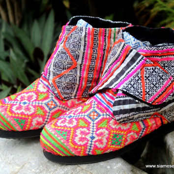 Retro Style Womens Vegan Ankle Boot Hmong Embroidered Batik, Bootie, Shoe