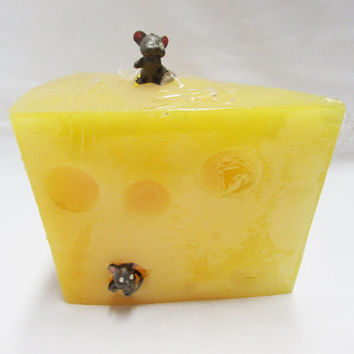 Yellow Cheese Wedge Candle with Mice