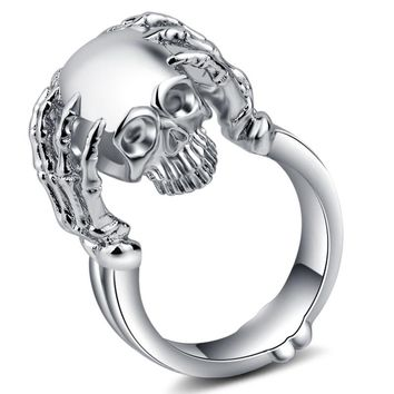 Skull Ring Gothic Punk Jewelry Silver Color Finger Jewelry Skeleton Vintage