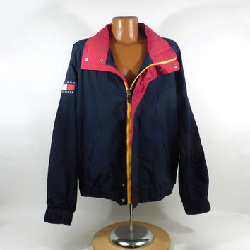 Tommy Hilfiger Jacket Vintage 1990s Windbreaker Coat Patch Nineties Men's size XL