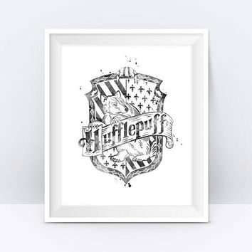 Hufflepuff Crest Printable Black And White Harry Potter Watercolor Harry Potter Print Wall Art Hufflepuff Crest Gift Digital Download