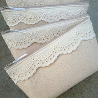 Lace Clutches, Cotton Lace, Bridesmaid Gifts, Make Up Bag, Jewelry Bag, Cosmetics Pouch, Rustic Wedding, Gift Ideas - Set of 6 PLUS ONE FREE