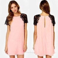 Summer Women's Sexy O-Neck Short Sleeve Chiffon Lace A line Dress Skirt WT F_F = 1904606916