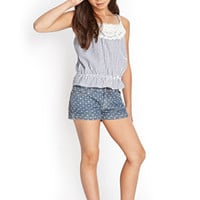 FOREVER 21 GIRLS Polka Dot Denim Shorts (Kids) Denim/Cream