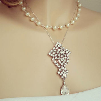 Art Deco Bridal Necklace Pearl Necklace with Crystal Pendant Wedding Jewelry