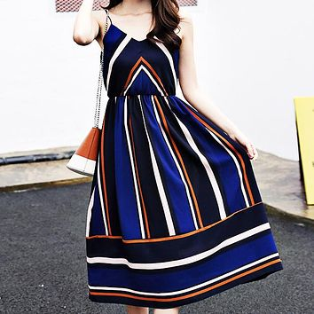 Hot-selling chiffon dress with slim waist, V-necktie and suspender skirt colliding with color stripes for holiday beach dress Only one piece Dark blue