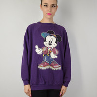 90s Mickey Mouse Disney Soft Grunge Sweatshirt Jumper Hipster Vintage Womens Clothing Over size slouchy 1990s XL Large