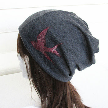 Sparrow Women Oversized Beanie Hat-Grey-Baggy Hat- Head Wrap- Slouch Cap-Hippie Hat-Unisex