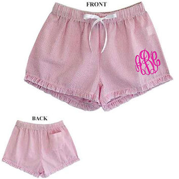 PINK Monogrammed Seersucker Ruffle Pajama Lounge Shorts  Font shown MASTER CIRCLE in dark blue